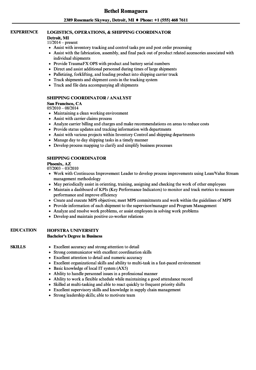 shipping coordinator resume samples