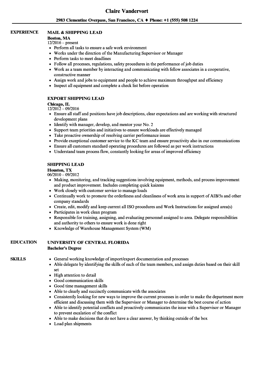 shipping lead resume samples velvet jobs