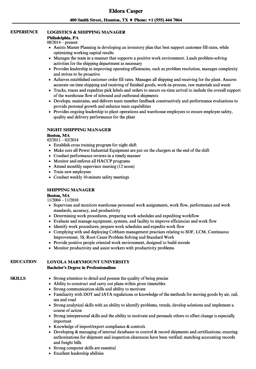 download shipping manager resume sample as image file