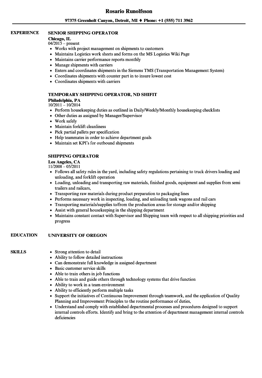 Shipping Operator Resume Samples | Velvet Jobs
