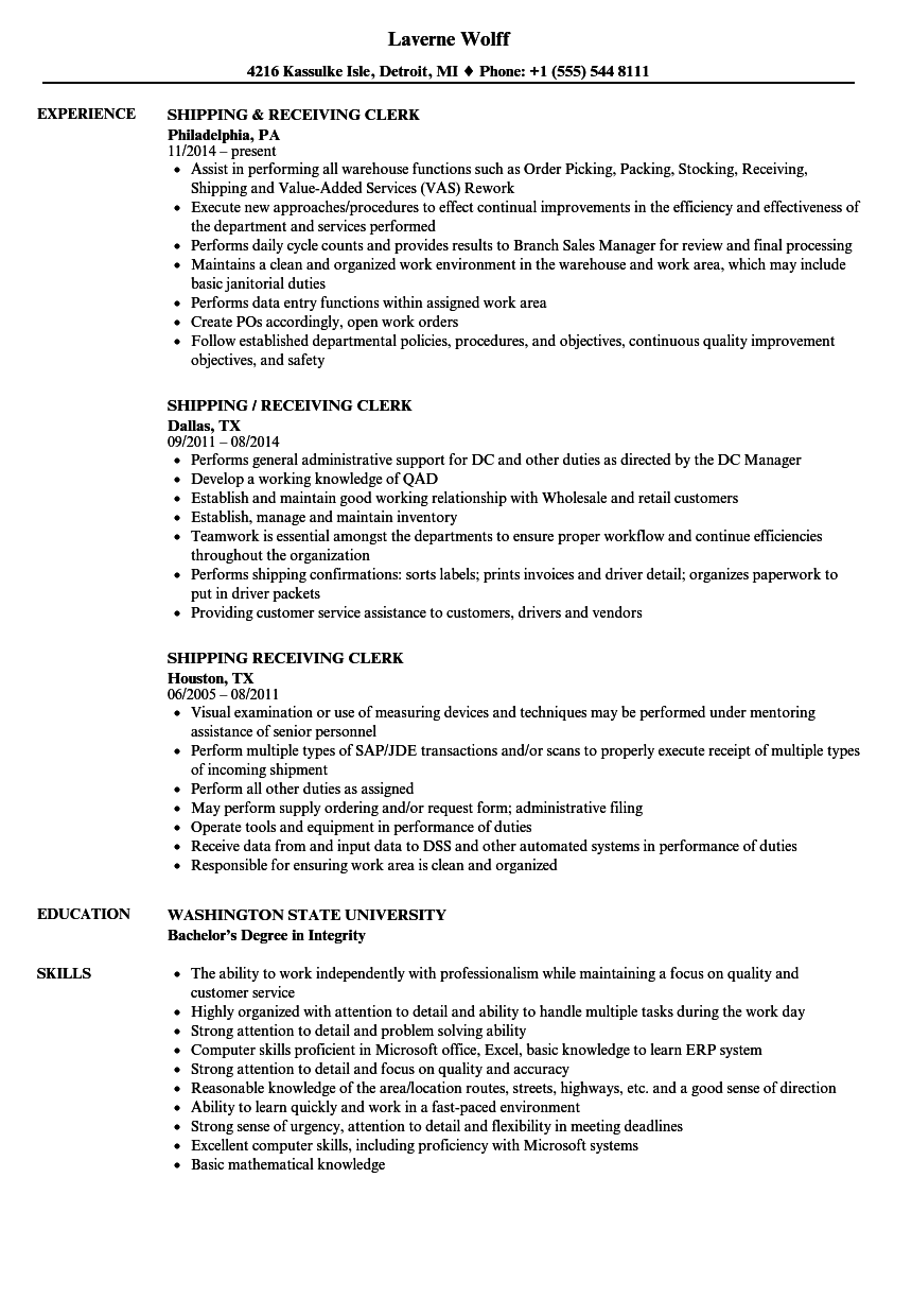 Shipping & Receiving Clerk Resume Samples | Velvet Jobs