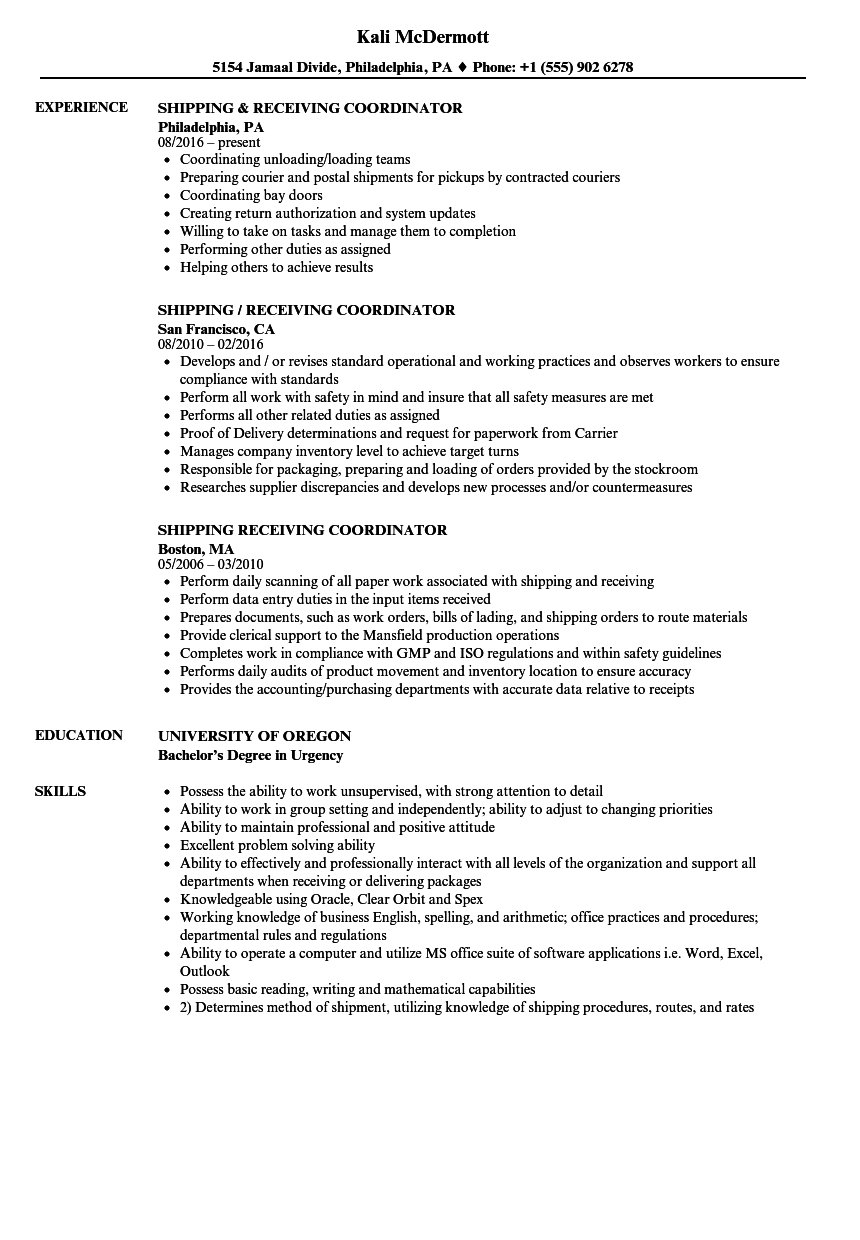 shipping  u0026 receiving coordinator resume samples