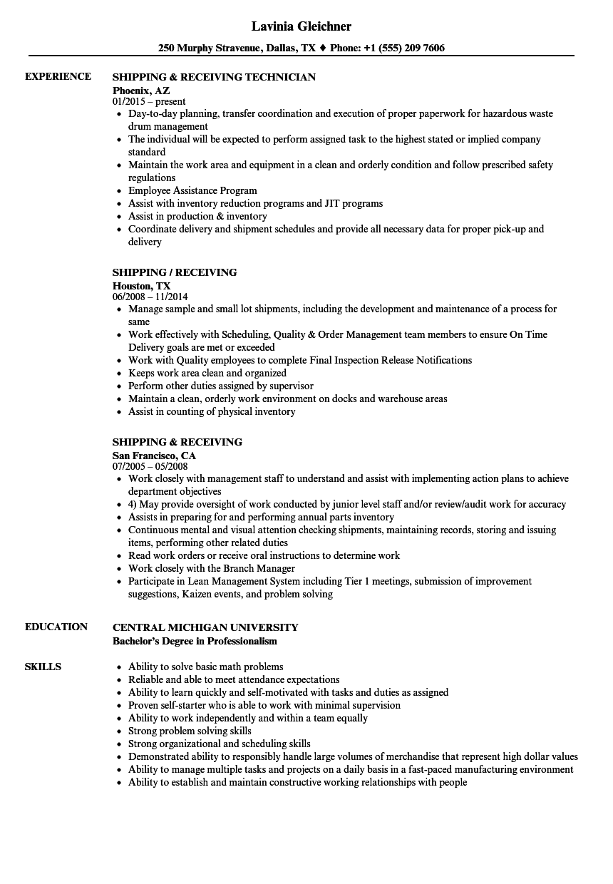 Velvet Jobs  Shipping And Receiving Resume