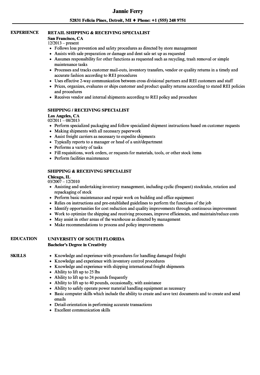 Download Shipping U0026 Receiving Specialist Resume Sample As Image File  Shipping And Receiving Resume
