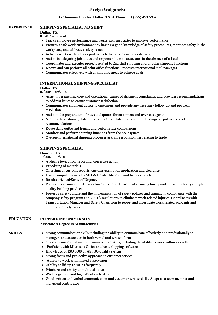 shipping specialist resume samples