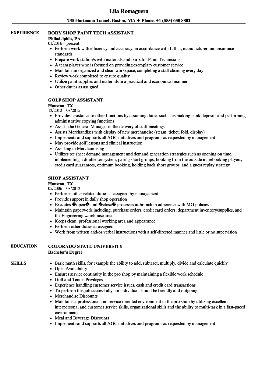 shop assistant resume samples