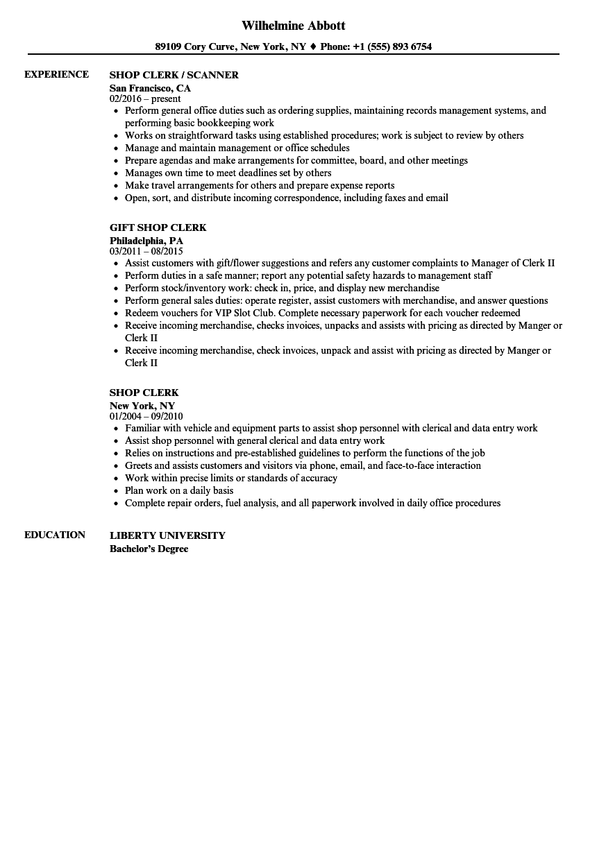 shop clerk resume samples