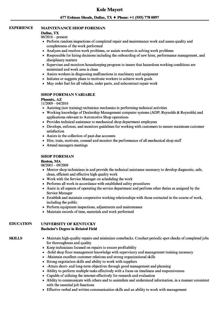 Shop Foreman Resume Samples Velvet Jobs