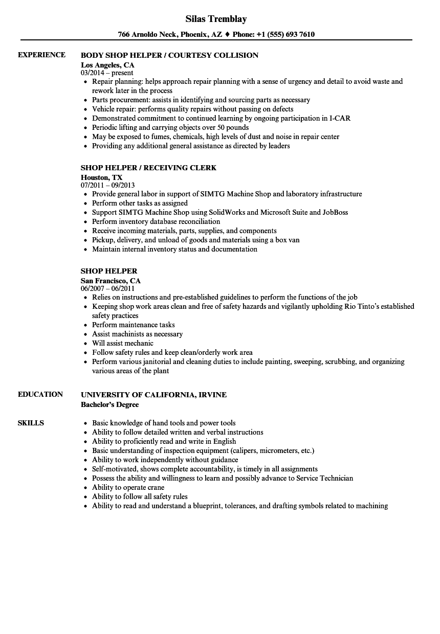 Download Shop Helper Resume Sample As Image File