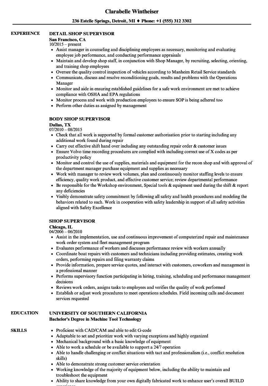 Shop Supervisor Resume Samples | Velvet Jobs
