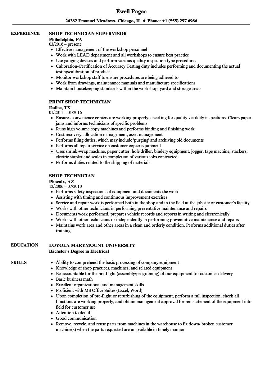 Shop Technician Resume Samples | Velvet Jobs