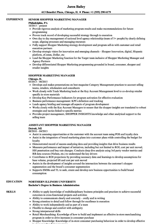 Shopper Marketing Manager Resume Samples | Velvet Jobs