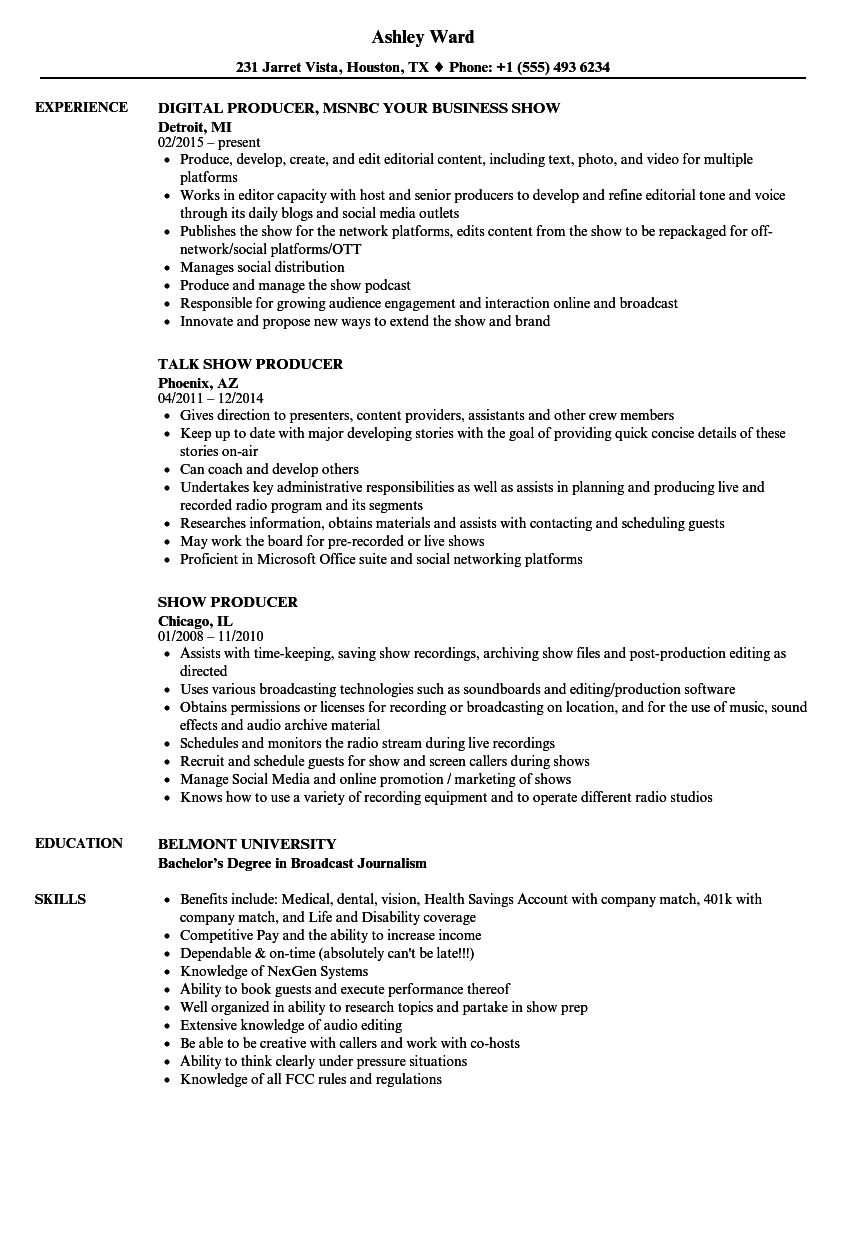 download show producer resume sample as image file - Show Producer Sample Resume