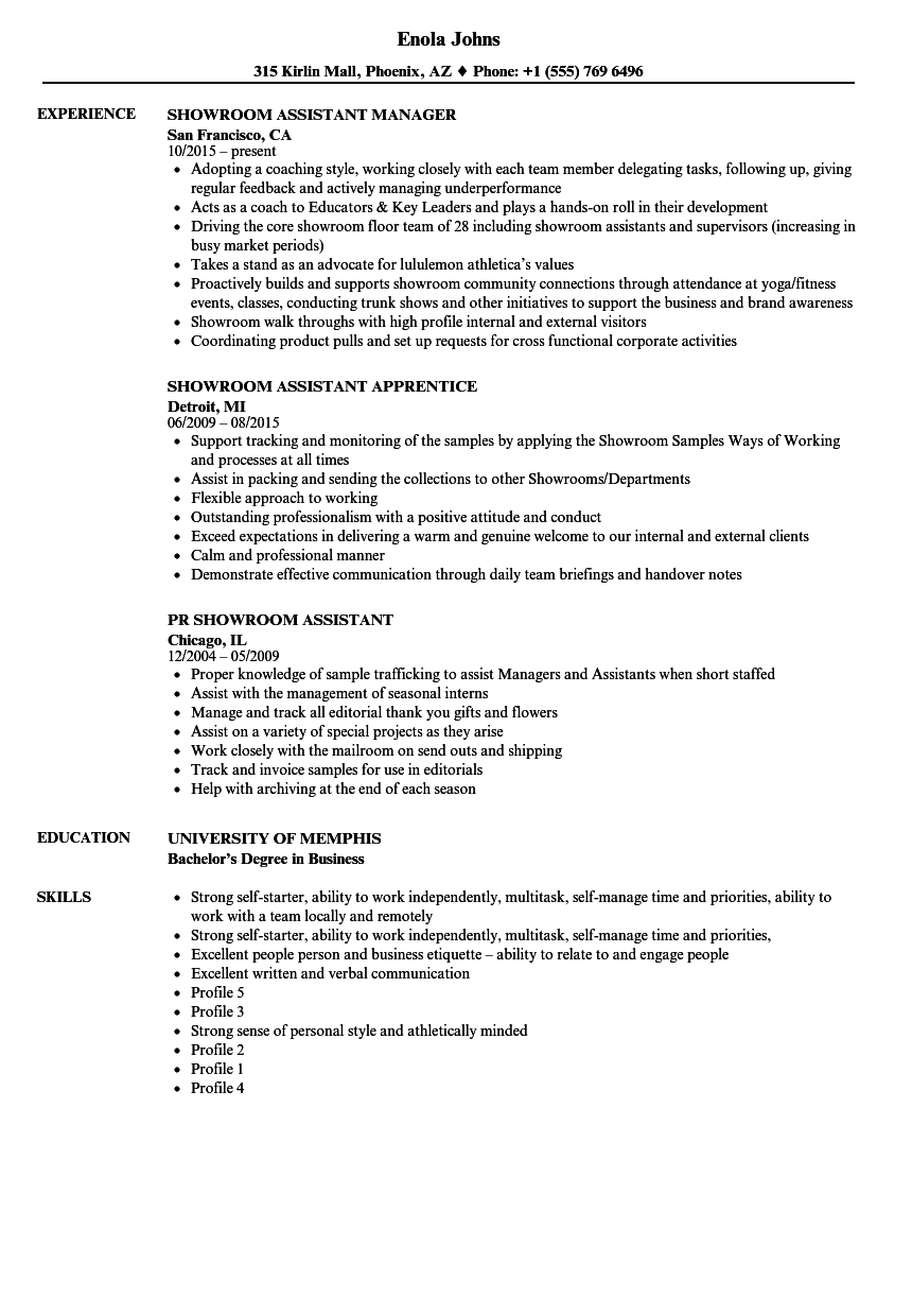 showroom assistant resume samples