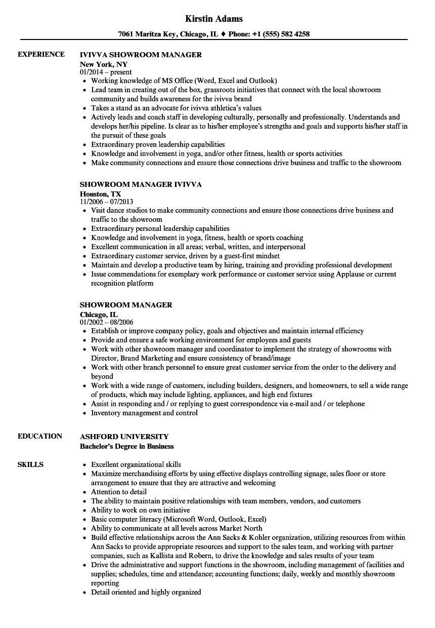 showroom manager resume samples