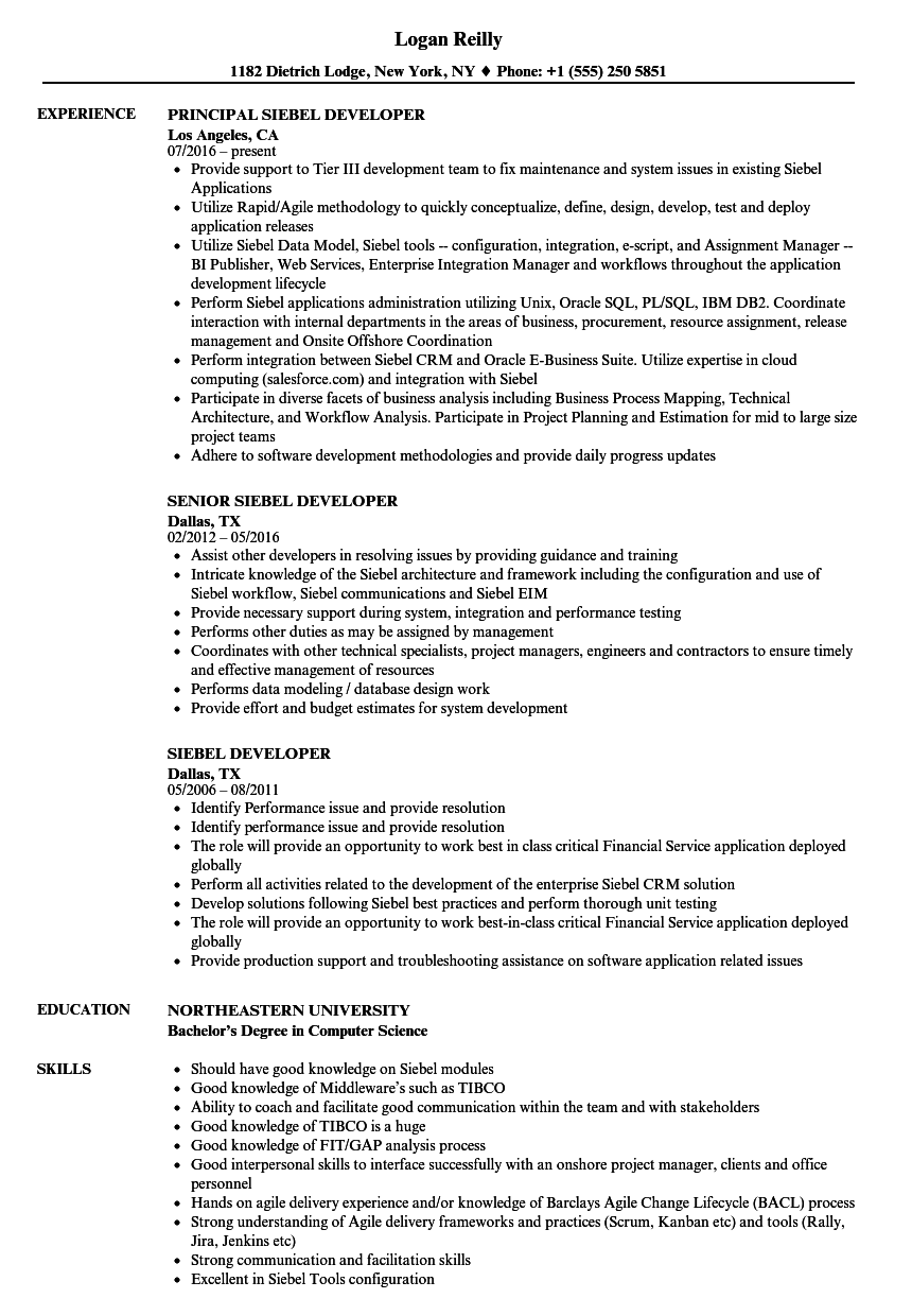 Siebel Developer Resume Samples Velvet Jobs