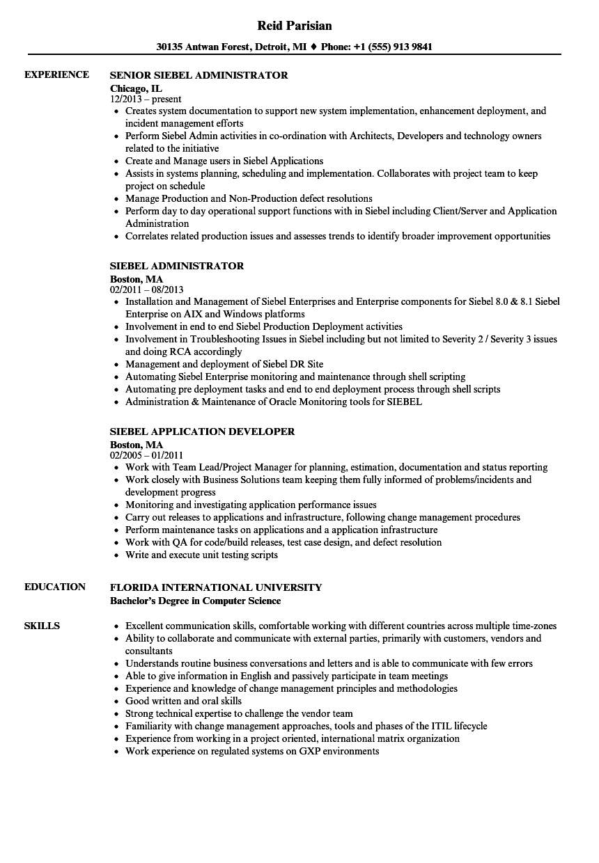 siebel resume samples