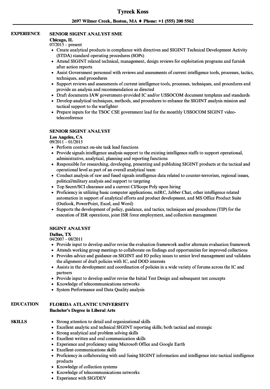 Sigint Analyst Resume Samples Velvet Jobs