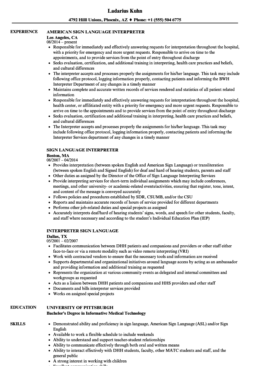 download sign language interpreter resume sample as image file - Language On Resume Sample