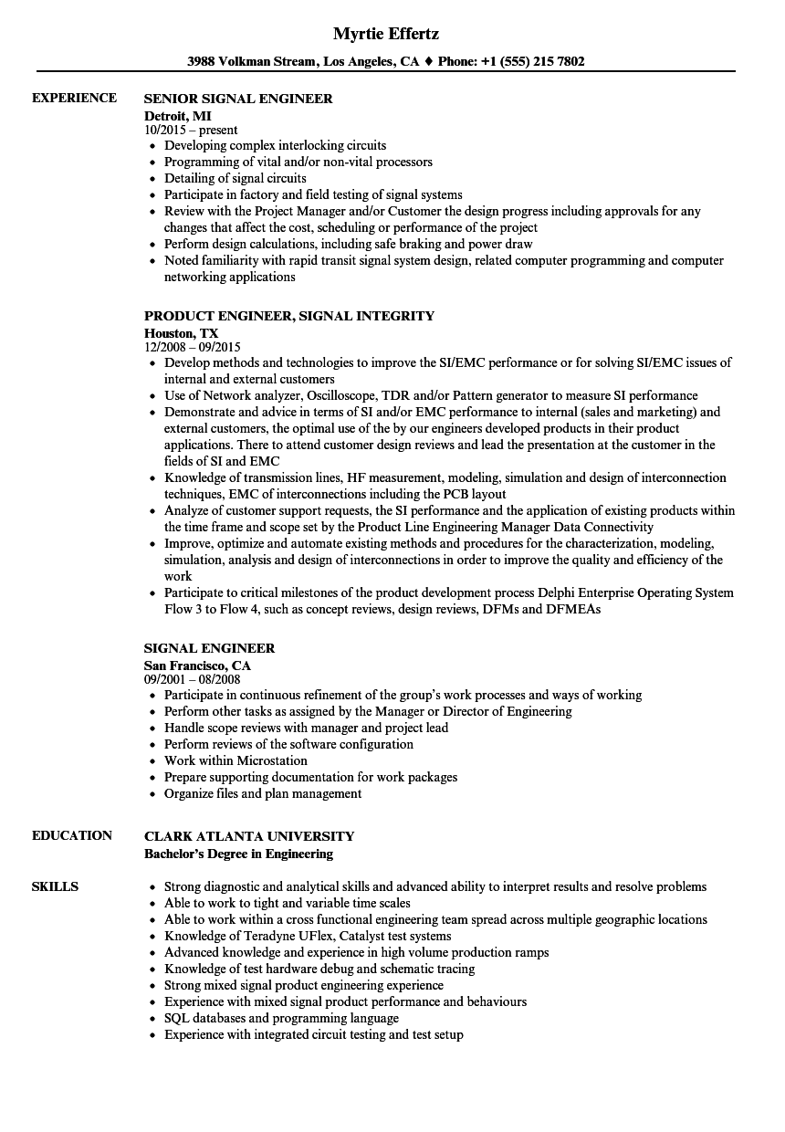 Signal Engineer Resume Samples | Velvet Jobs