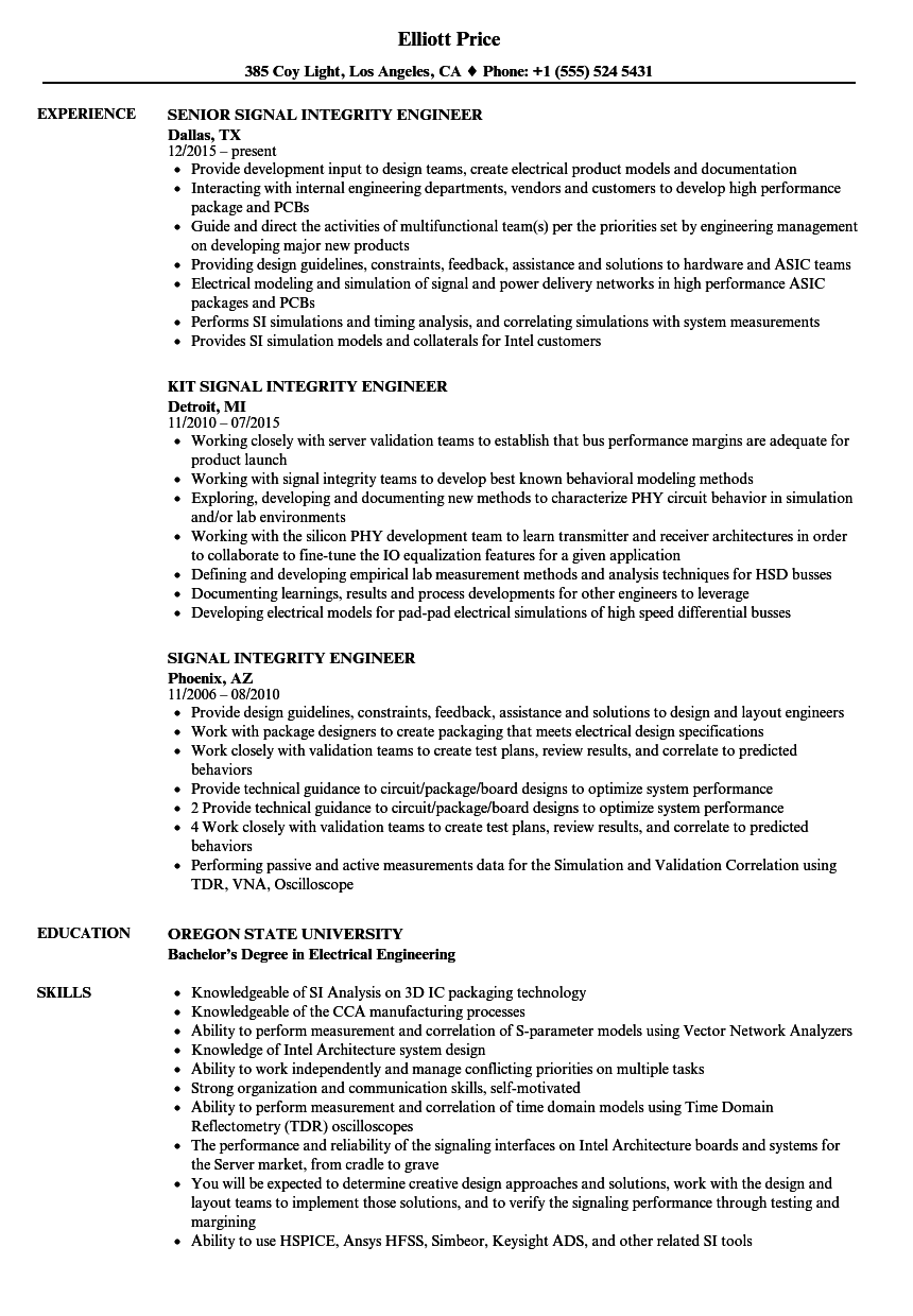 signal integrity engineer resume samples