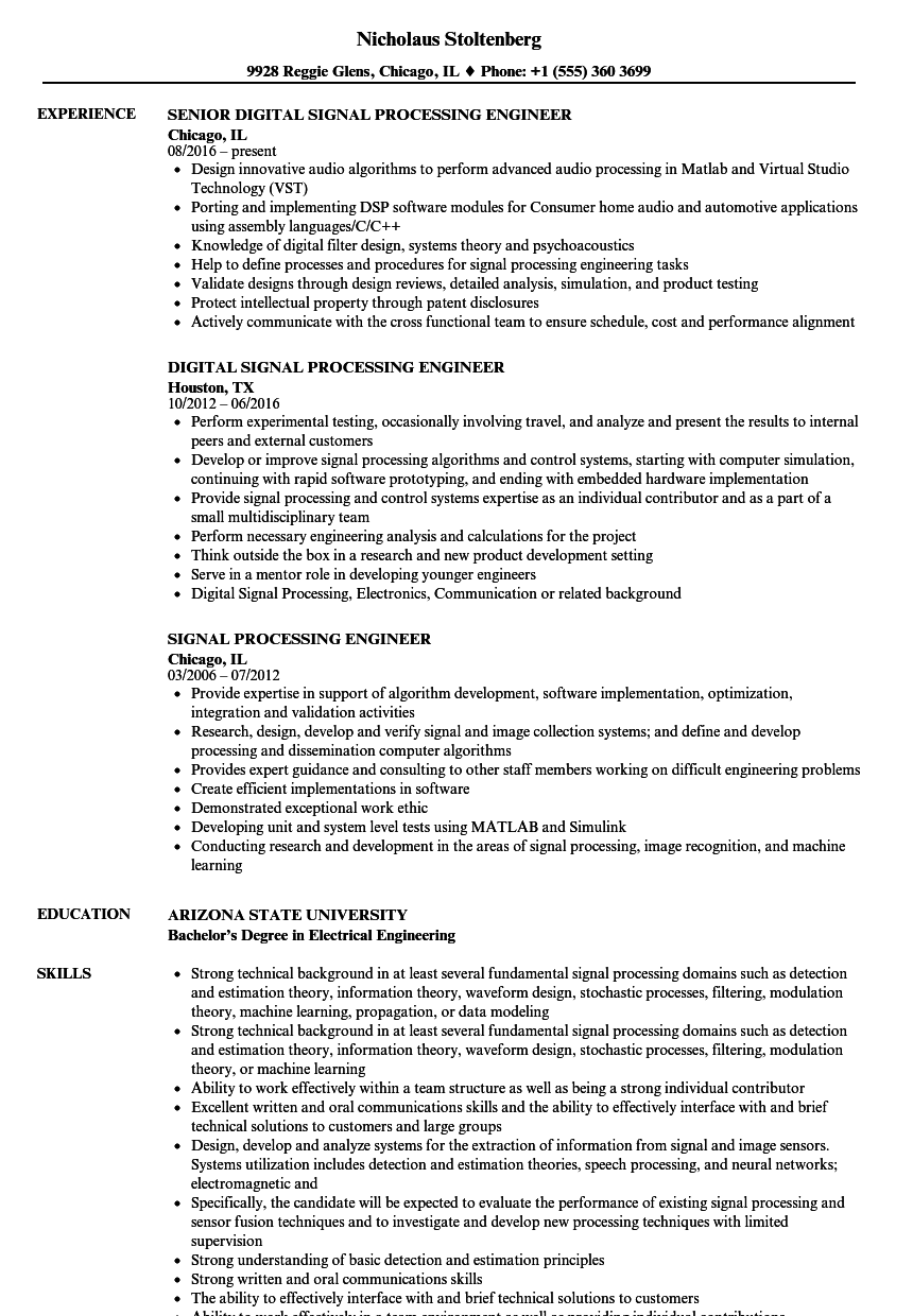 signal processing engineer resume samples
