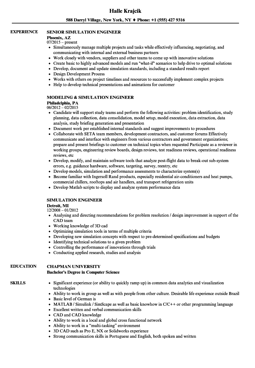 Simulation Engineer Resume Samples Velvet Jobs