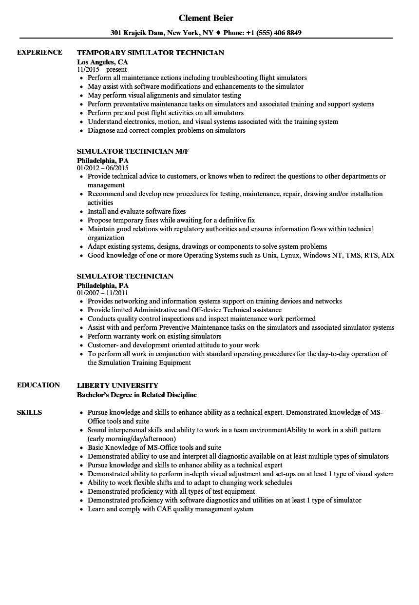 Simulator Technician Resume Samples | Velvet Jobs