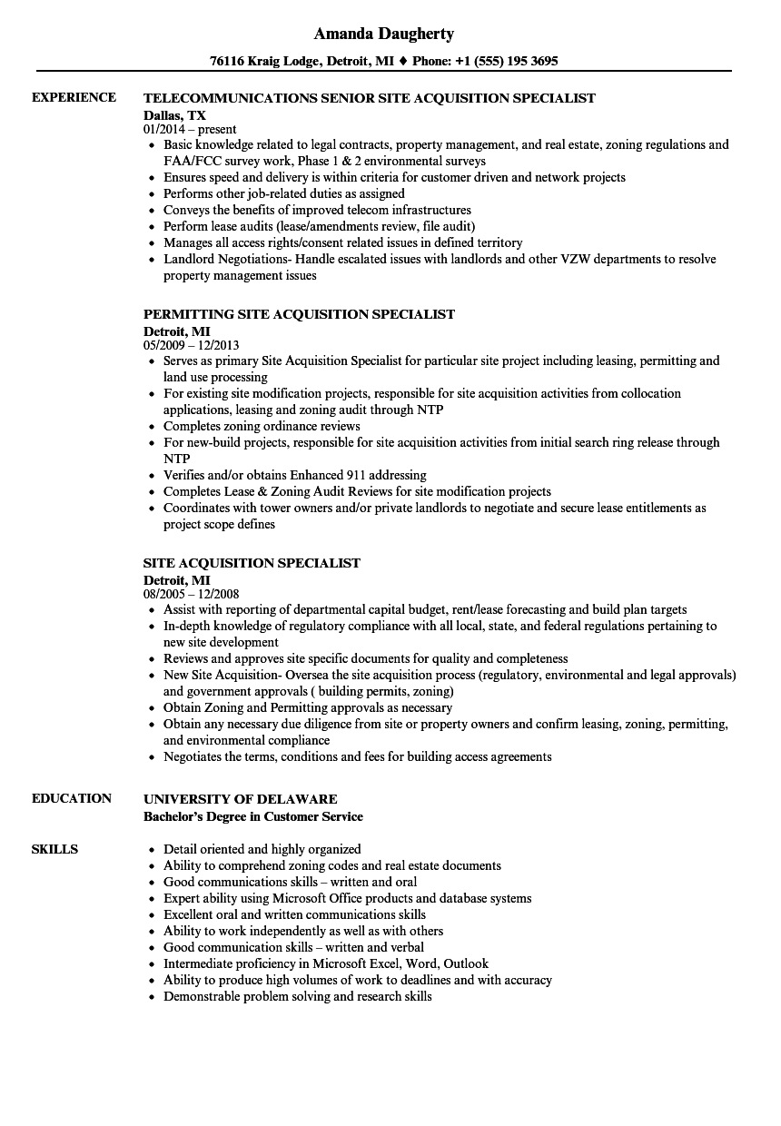 download site acquisition specialist resume sample as image file