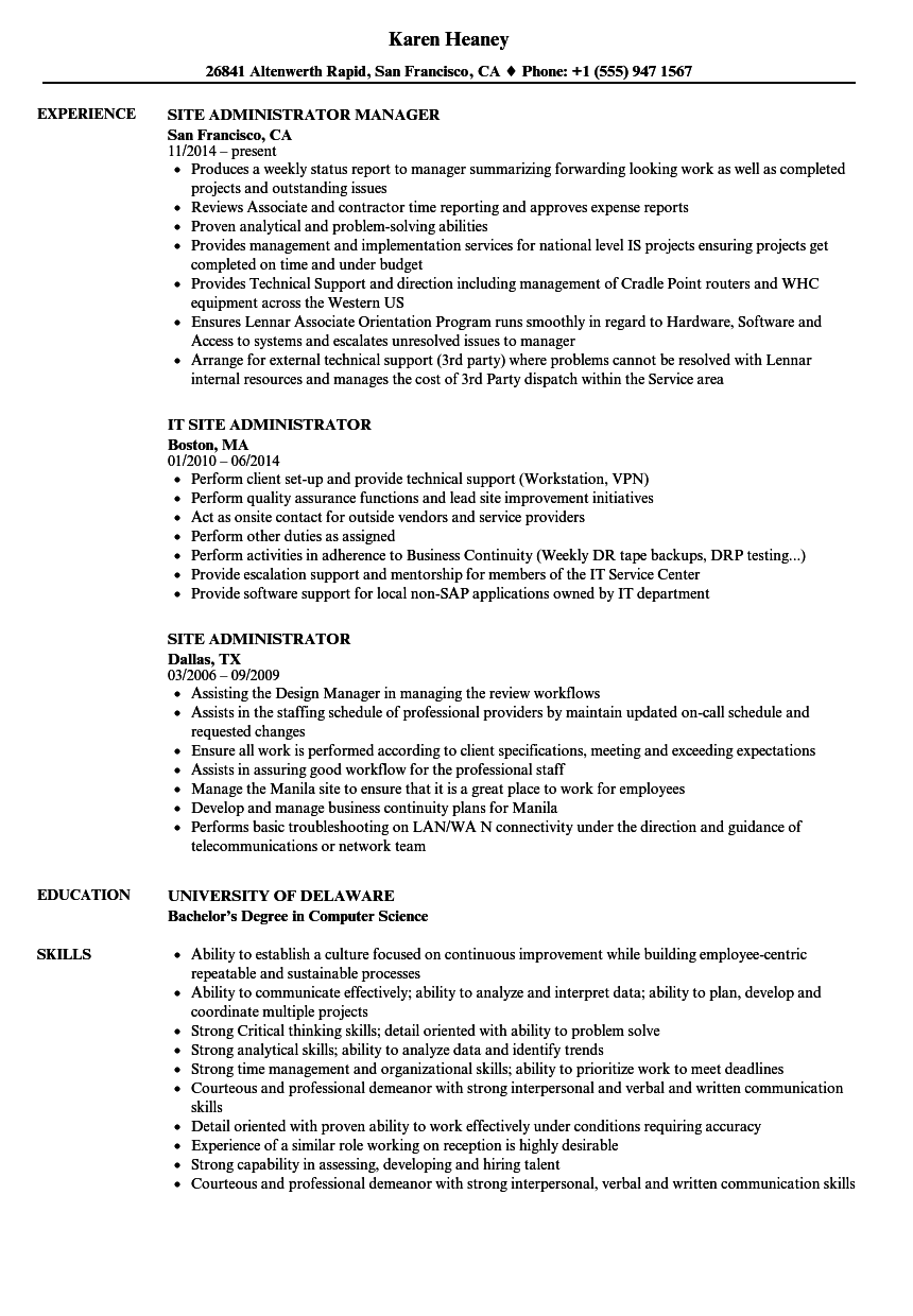 Site Administrator Resume Examples U0026 Samples