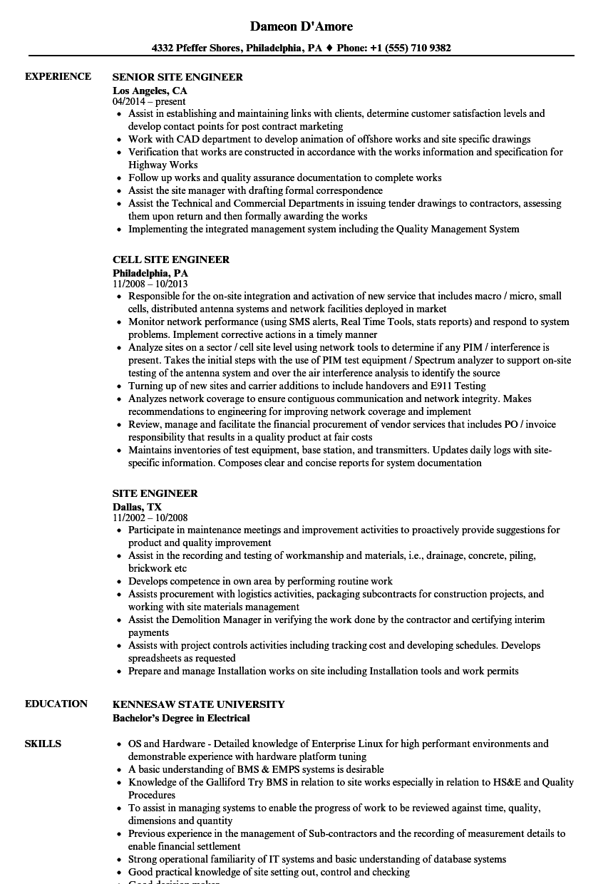 site engineer resume samples velvet jobs