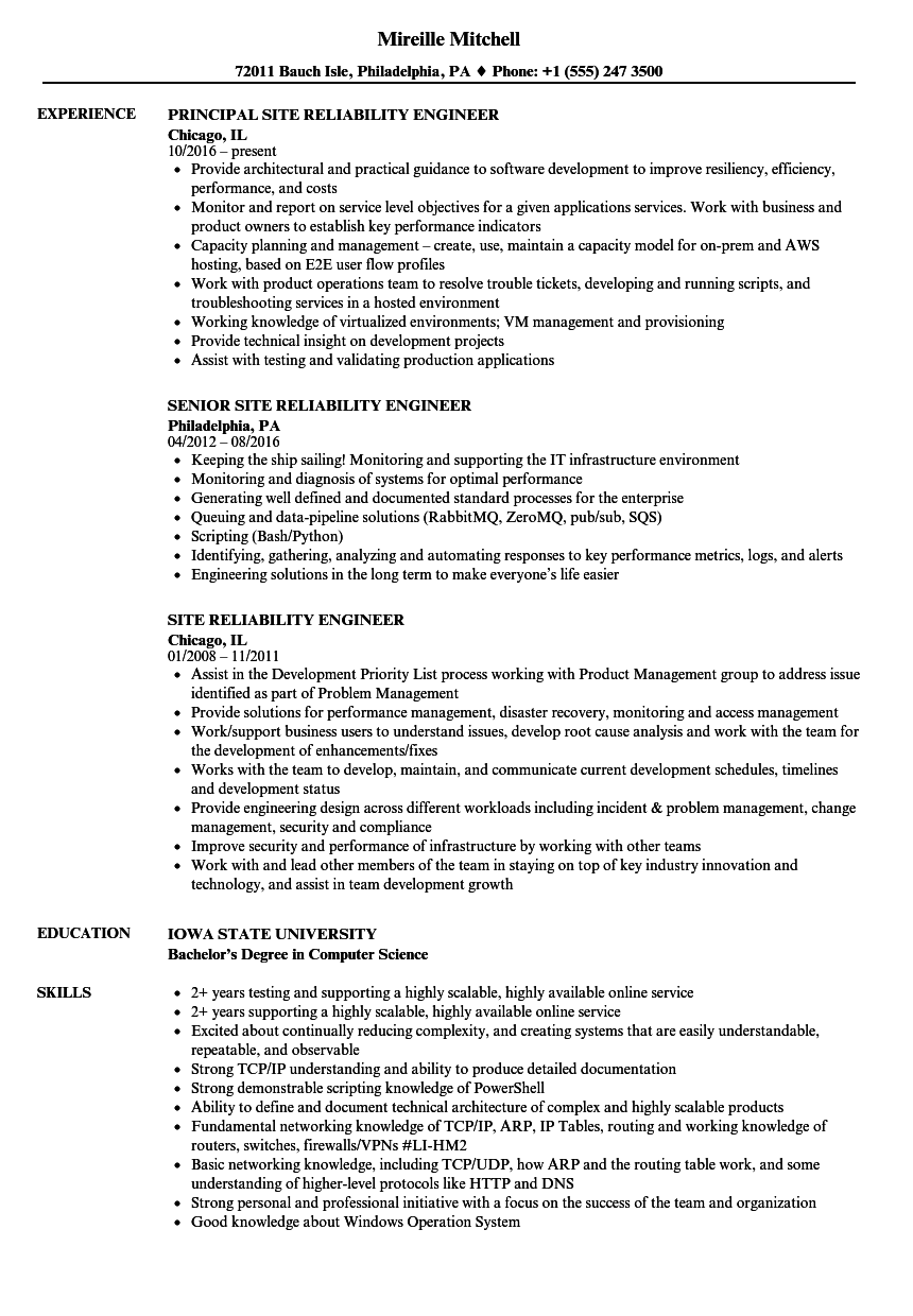 Download Site Reliability Engineer Resume Sample As Image File