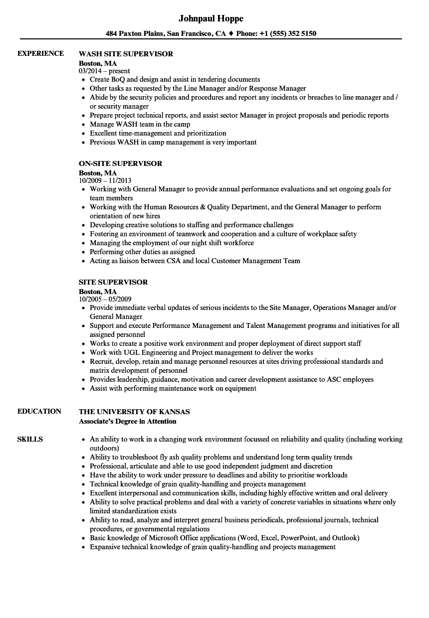 site supervisor resume samples velvet jobs