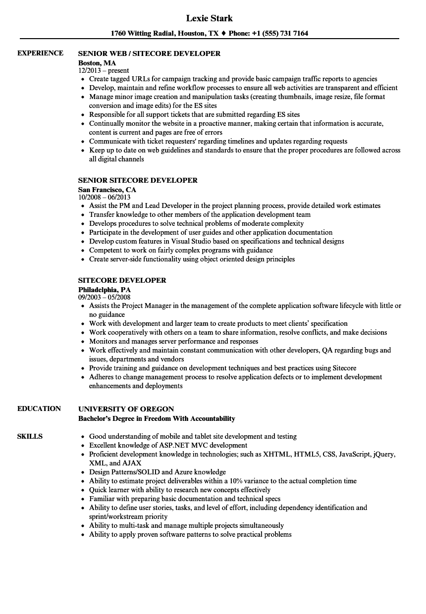 Sitecore Developer Sample Resume