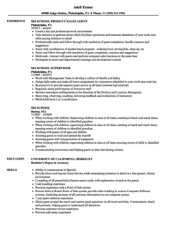 ski school resume samples