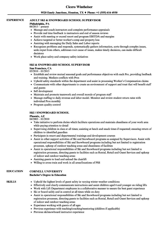 ski    snowboard school resume samples