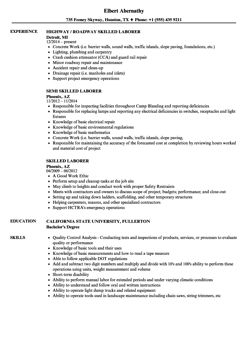skilled laborer resume samples