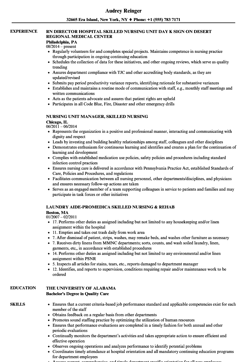 Skilled Nursing Resume Samples | Velvet Jobs