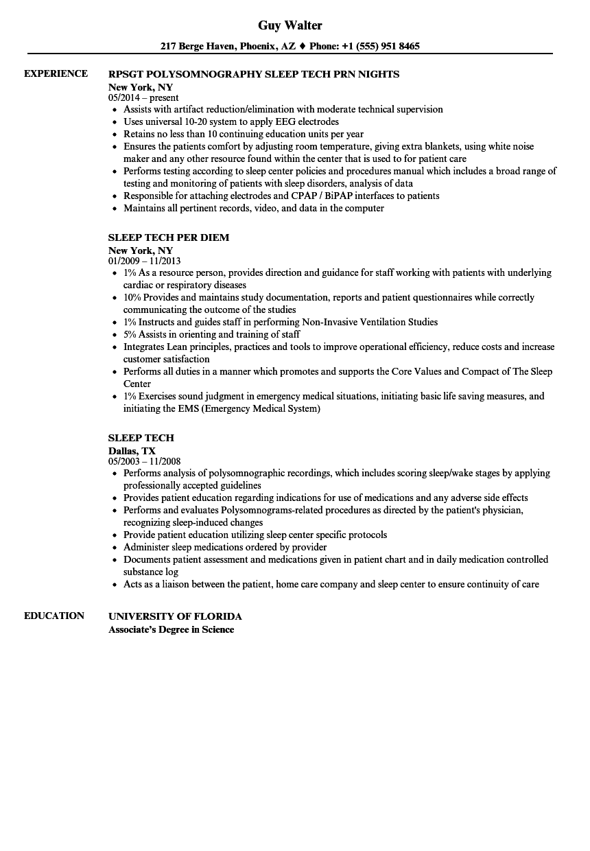Sleep Tech Resume Samples Velvet Jobs