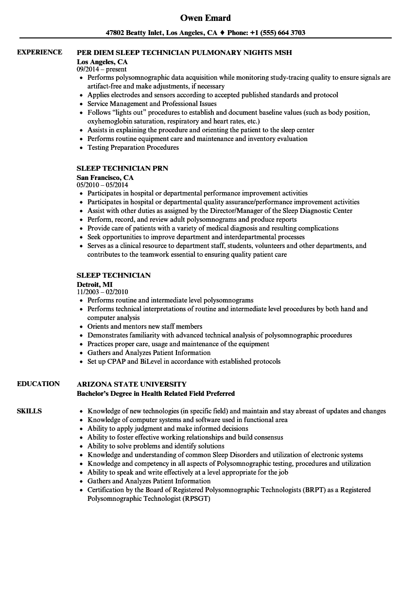 sleep technician resume samples