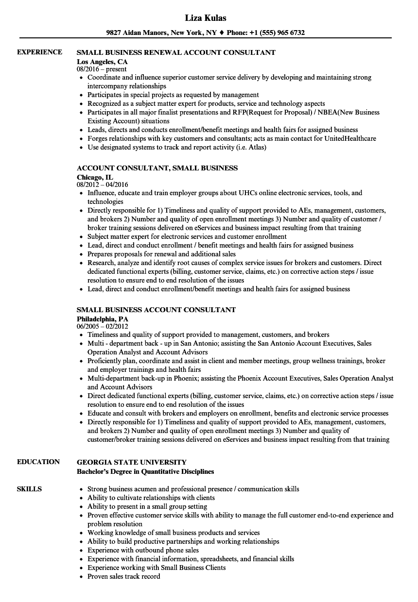 Small Business Consultant Resume Samples | Velvet Jobs