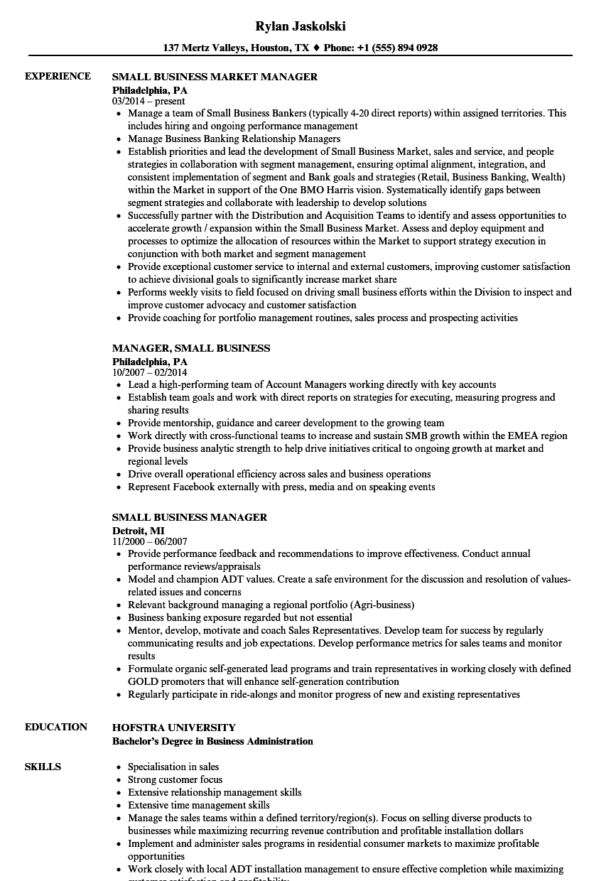small business manager resume samples