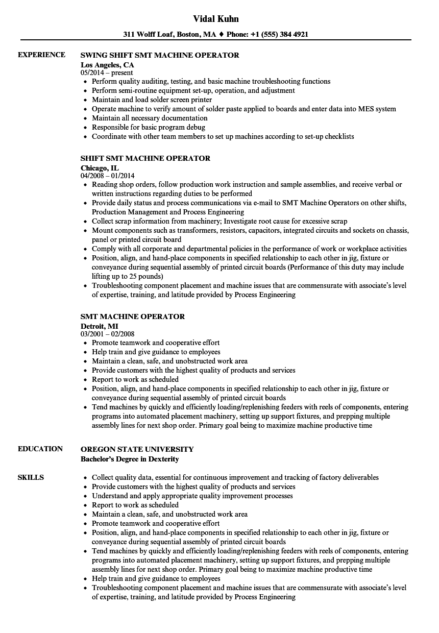 Download SMT Machine Operator Resume Sample As Image File