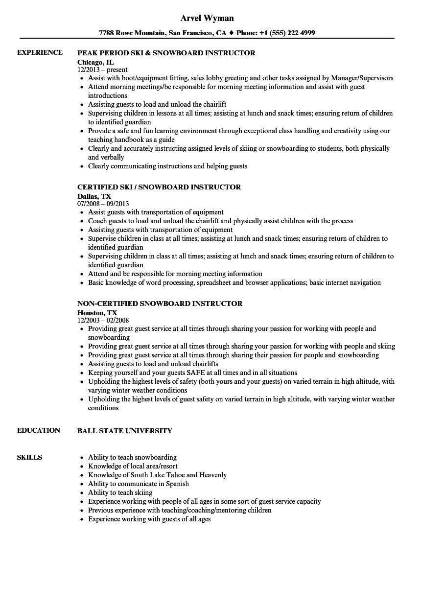 snowboard instructor resume samples