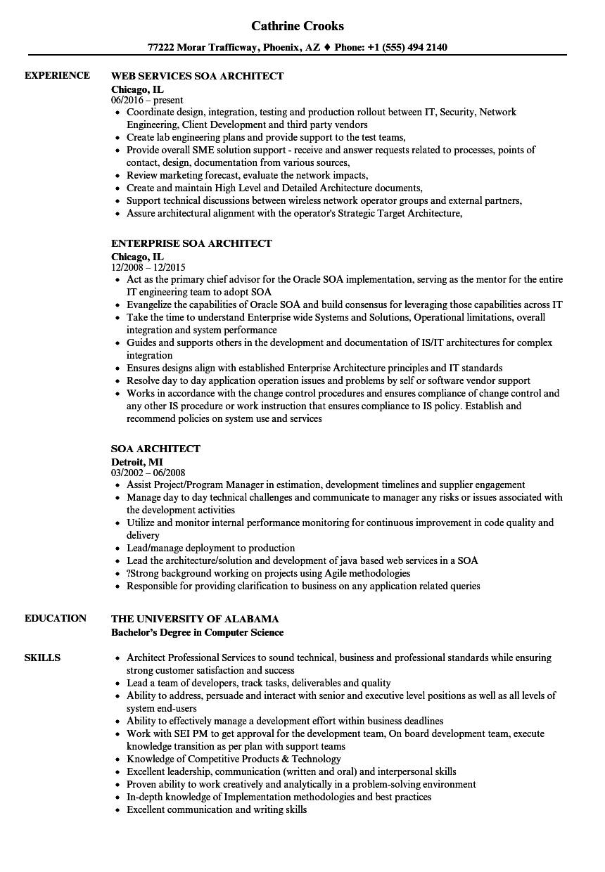 Soa Architect Resume Samples Velvet Jobs