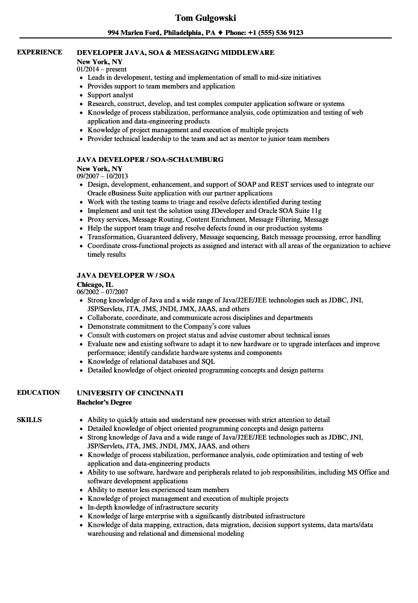 Soa Java Developer Resume Samples | Velvet Jobs