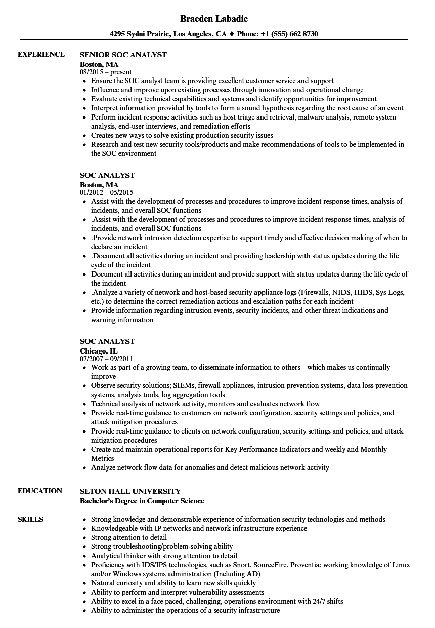 soc analyst resume samples velvet jobs