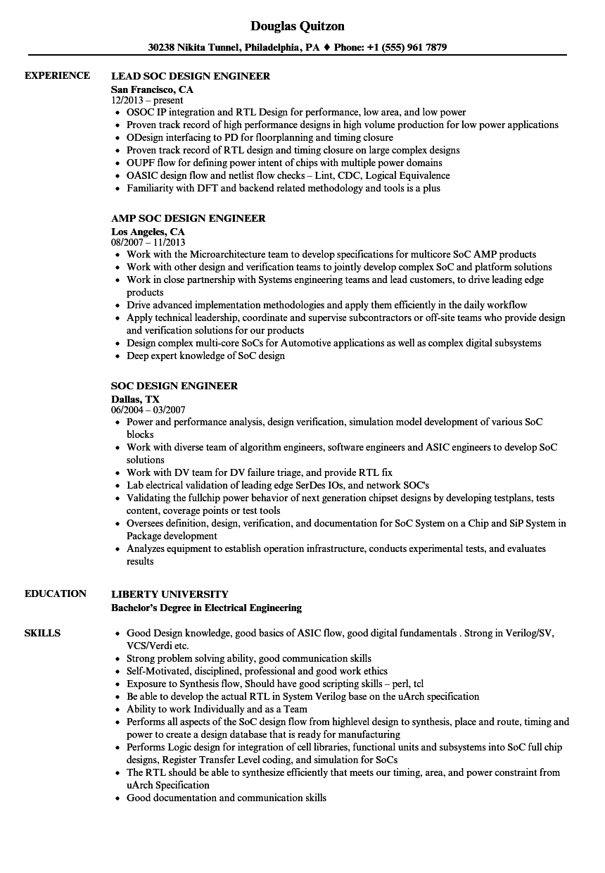 Download SOC Design Engineer Resume Sample As Image File