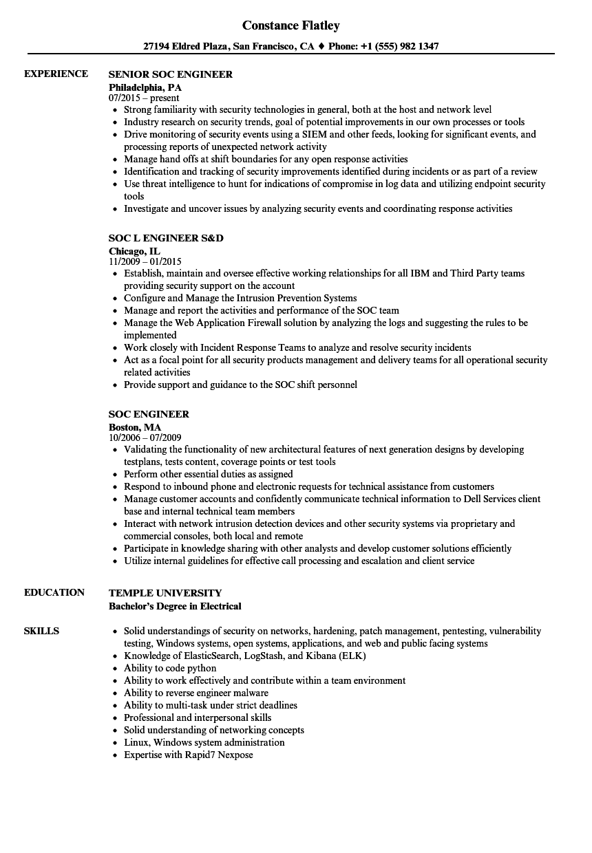 soc engineer resume samples