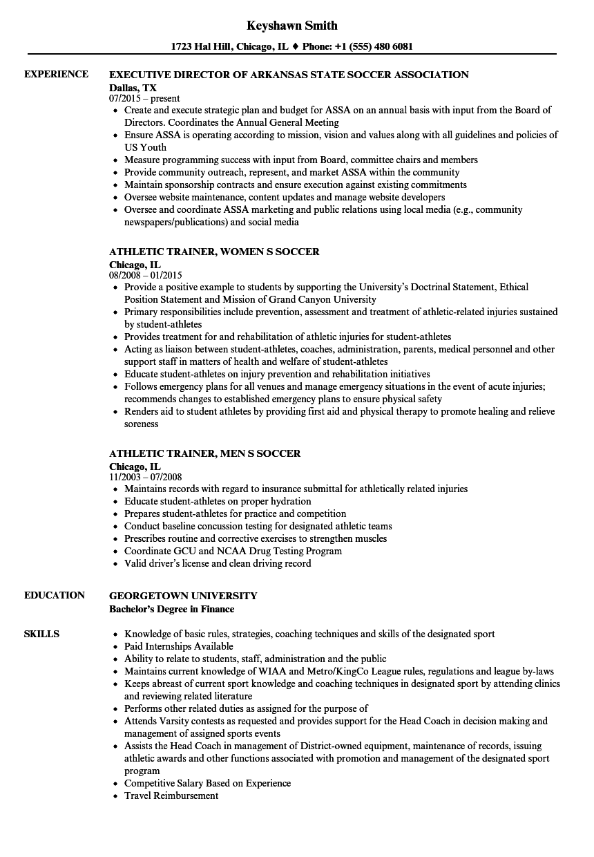 soccer resume samples